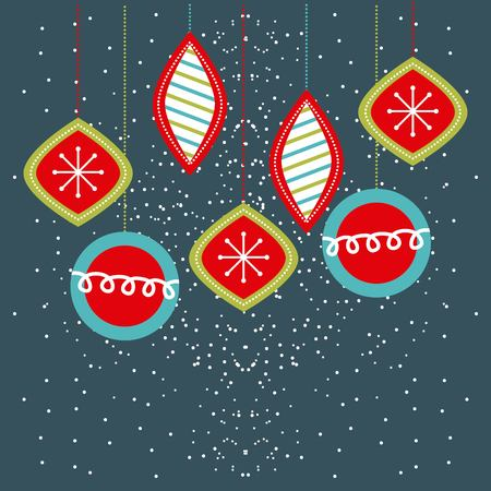 Christmas balls hanging decoration party vector illustration Ilustrace