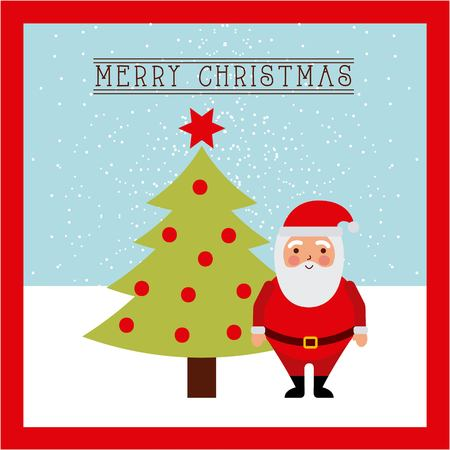 merry christmas card santa claus standing tree star balls decoration vector illustration