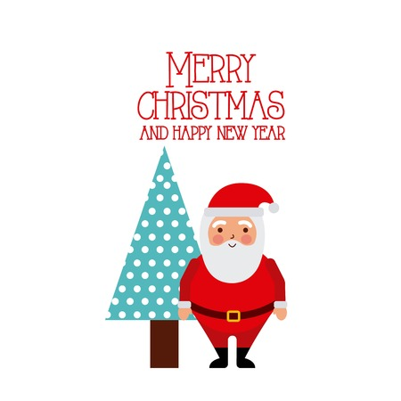 Merry christmas and happy new year santa and tree white background vector illustration