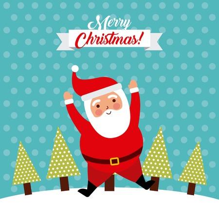 merry christmas jump santa claus funny vector illustration
