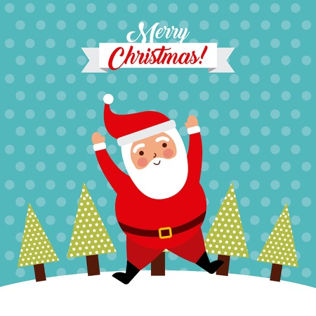 merry christmas jump santa claus funny vector illustration