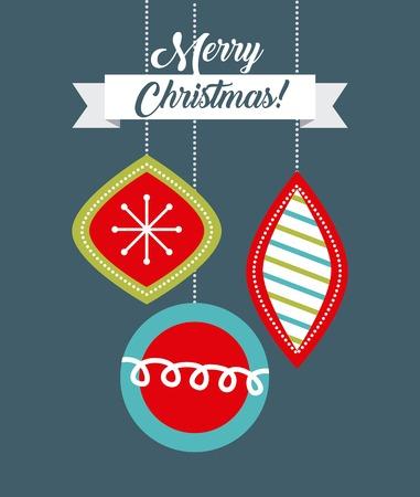 merry christmas card balls decoration hanging ornament vector illustration Ilustrace