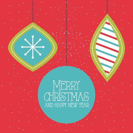 merry christmas and happy new year hanging balls red background vector illustration