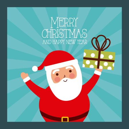 merry christmas and happy new year santa holding gift vector illustration