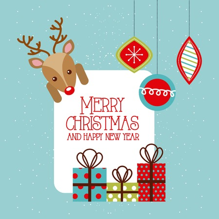 merry christmas and happy new year deer gifts hanging balls vector illustration Ilustracja