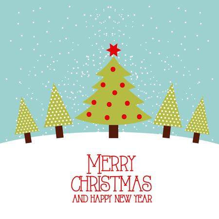 Merry christmas and happy new year tree pine star decoration vector illustration