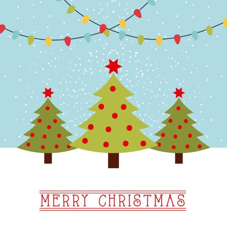 Merry christmas card trees with star and balls light hanging vector illustration