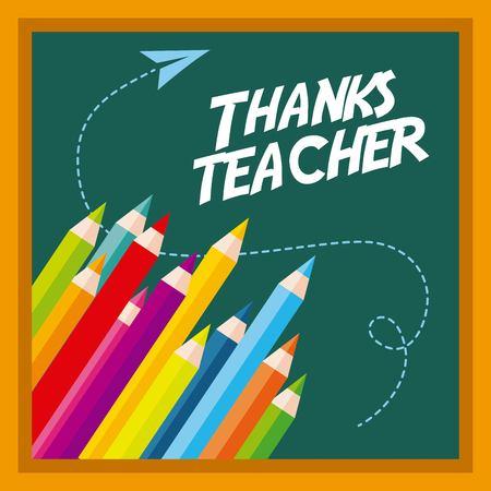 Thanks teacher card greeting colors pen chalkboard vector illustration