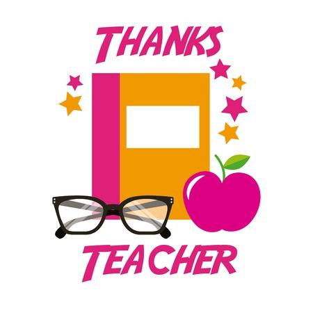 Thanks teacher card book apple glasses vector illustration