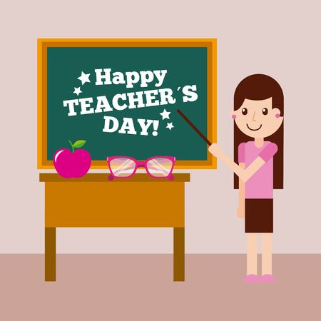 Happy teacher day card girl chalkboard and desk vector illustration Illustration
