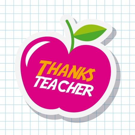 Thanks teacher card big pink apple celebration vector illustration