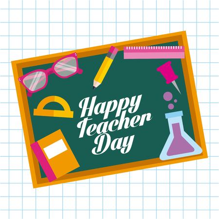 Happy teacher day card chalkboard elements school vector illustration