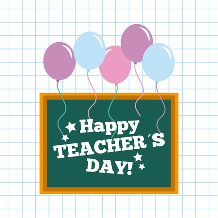 Happy teacher day card chalkboard and balloons vector illustration Illustration
