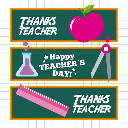 Happy teacher day card invitation celebration vector illustration Illustration