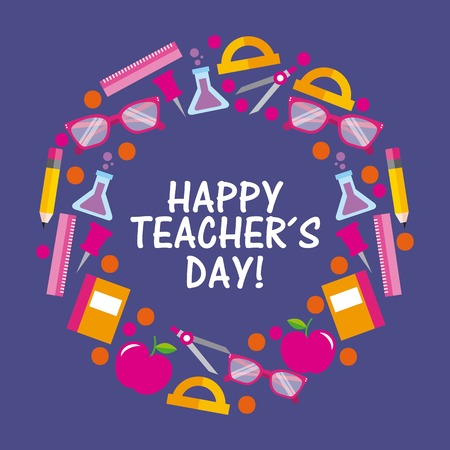 Happy teacher day card celebration elements stationery supplies round vector illustration Illustration