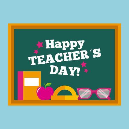 Happy teacher day card chalkboard book glasses vector illustration