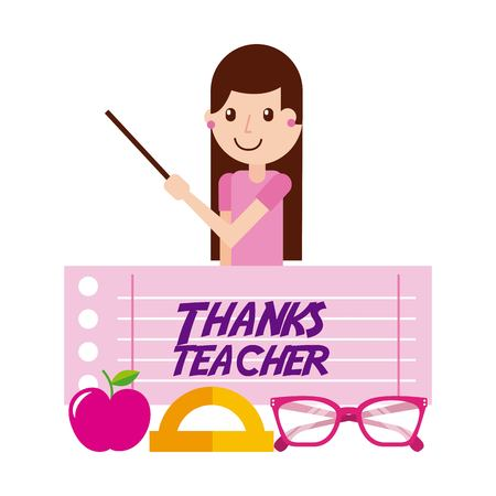 Thanks teacher girl character and apple glasses vector illustration Ilustração
