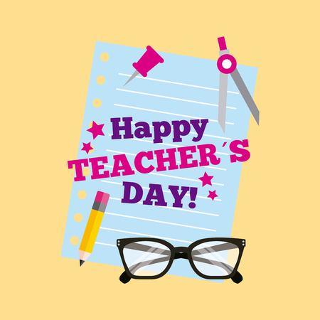 Happy teacher day card lettering paper pancil glasses vector illustration Çizim