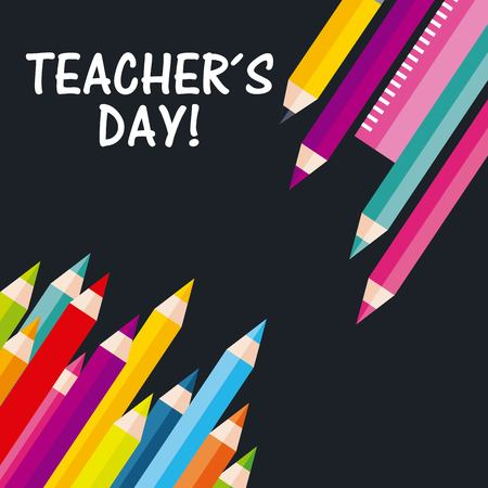 Teachers day greeting pencil colors ruler on black background vector illustration