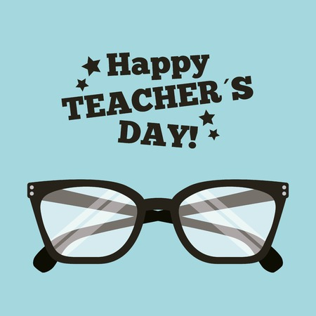 Happy teacher day card with glasses accessory vector illustration Çizim