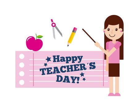 Happy teacher day card cute girl standing with supplies vector illustration