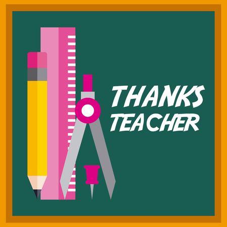 Thanks teacher card chalkboard and ruler pencil vector illustration
