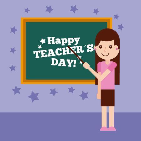 Happy teacher day card cute girl standing chalkboard stars decoration vector illustration Ilustracja