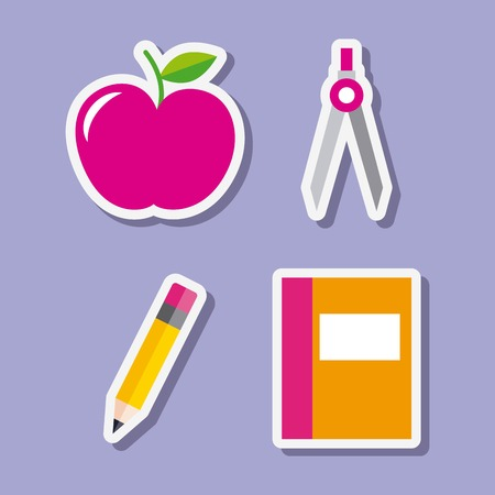 Teacher day set of utensil supplies vector illustration