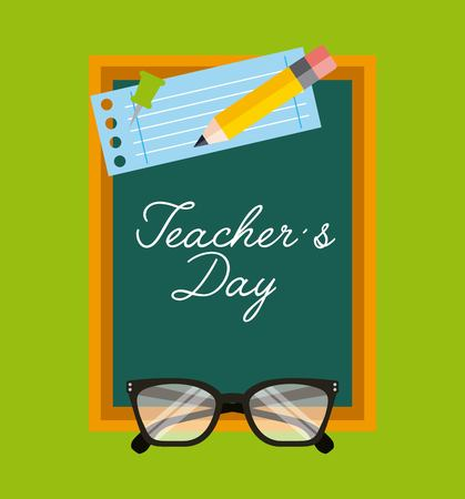 Teachers day greeting chalkboard paper glasses and pencil vector illustration Ilustração