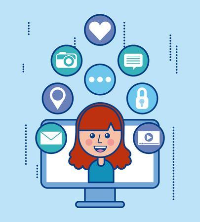 ラップトップの女の子通信ソーシャル メディア漫画のベクトル図