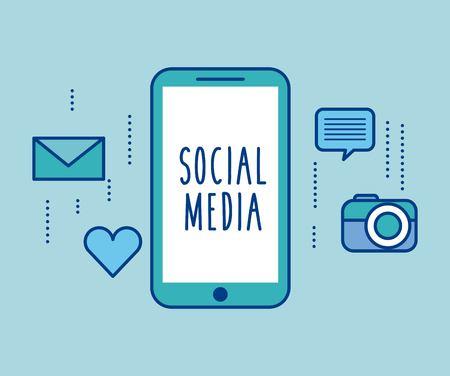 social media smartphone device app icons vector illustration