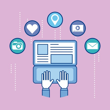 people working with laptop in social networks with social media symbols vector illustration Illustration