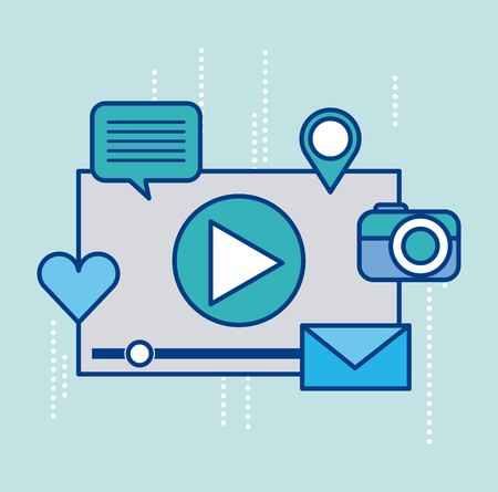video player and social media icons around design vector illustration