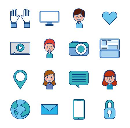 social media community app internet icons vector illustration Çizim