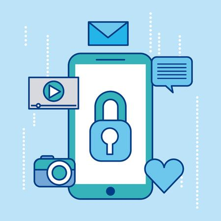 smartphone security privacy social media icons vector illustration