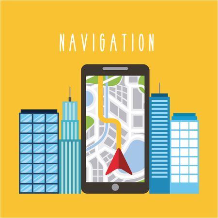 smartphone arrow navigation city urban building vector illustration Illustration