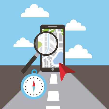 smartphone maginifer compass navigation road concept vector illustration