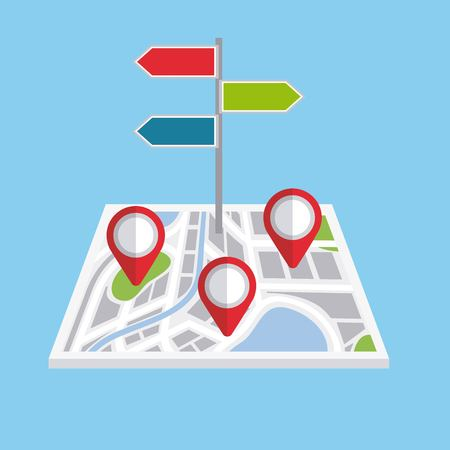 pointers map navigation direction localization signal vector illustration