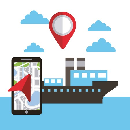 map pin for ship location application technology vector illustration 向量圖像