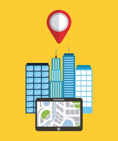 navigation device app city buildings pointer map vector illustration Illusztráció