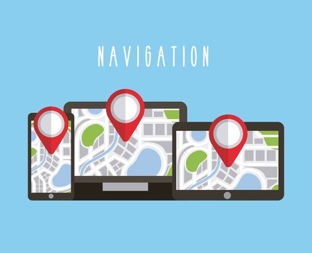 digital devices with navigation gps map on screen vector illustration
