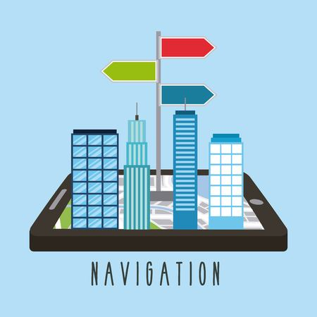 buildings on smartphone screen city mobile application vector illustration
