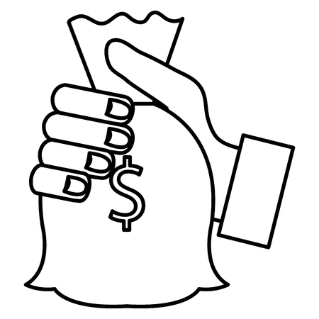 hand human with money bag isolated icon vector illustration design