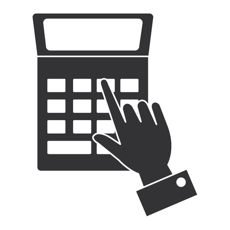 hand human with calculator math isolated icon vector illustration design