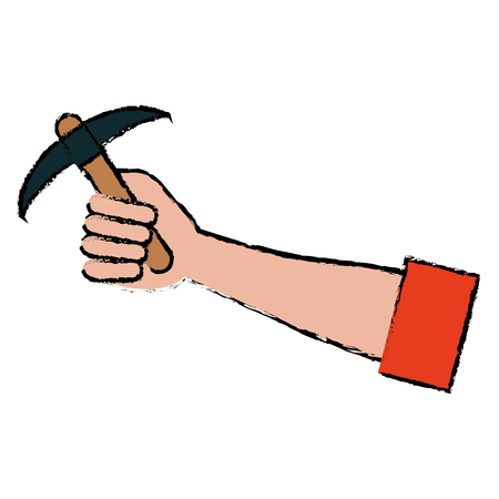 Hand mens met kies mijn gereedschap pictogram vector illustratie ontwerp Stockfoto - 86857682