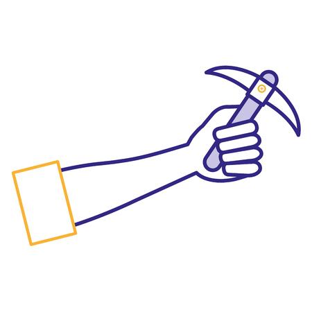 mano umana con la progettazione dell'illustrazione di vettore dell'icona dello strumento della miniera di scelta