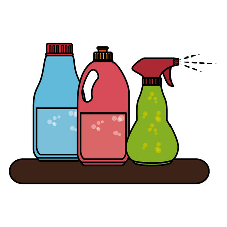 Shelf with laundry products vector illustration design Illustration