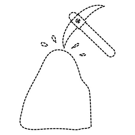 pick mine tool with stone vector illustration design Illustration