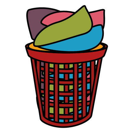 plastic basket with clothes vector illustration design