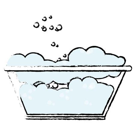 plastic laundry container with foam vector illustration design Illustration